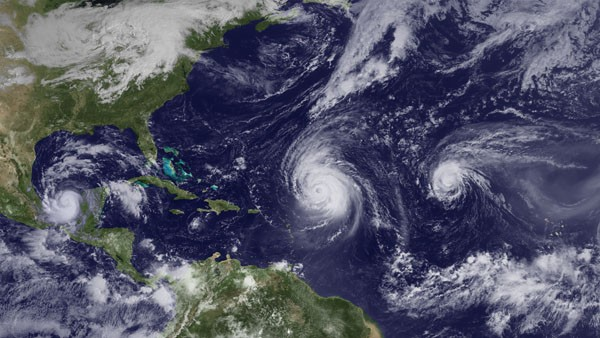 Hurricanes Karl, Igor and Julia over the Atlantic in 2010. Courtesy NOAA