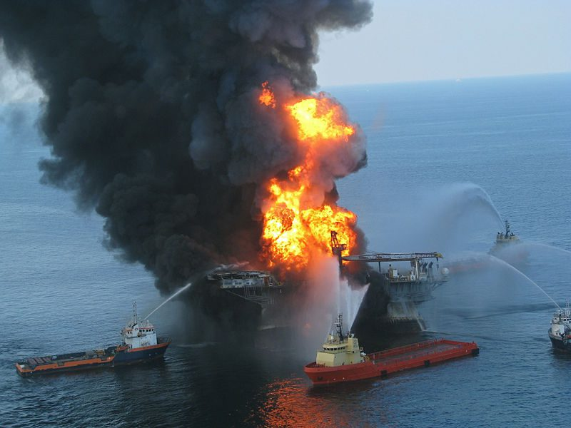 Deepwater Horizon in flames in the Gulf of Mexico, April 21, 2010. U.S. Coast Guard Photo