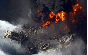 The Deepwater Horizon on fire in April 2010.