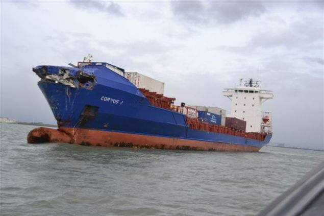 The Corvus J after colliding with the Baltic Ace car carrier near Rotterdam.