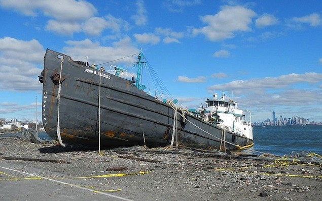 The John B Caddell pictured on November 3, 2012, just a few days after Hurricane Sandy. Image: USCG