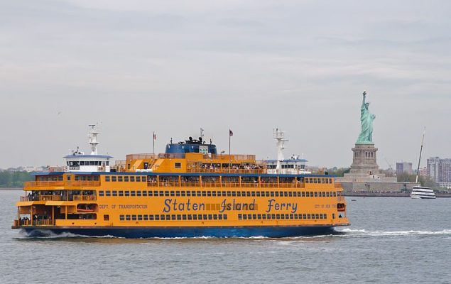 The Spirit of America, pictured here, is one of nine Staten Island ferries.