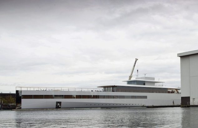 The superyacht built for Apple co-founder Steve Jobs is seen in a shipyard in Aalsmeer in this October 30, 2012 file photo. REUTERS/Michael Kooren/Files