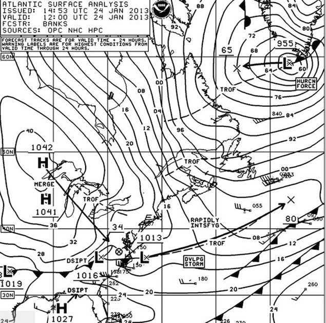 NOAA OPC Surface Analysis 12Z 24 January 2013 showing fast moving low passing off the coast.