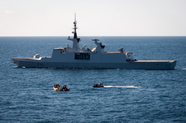 EU Naval Force French frigate FS Surcouf apprehends suspect pirates. Photo: EUNAVFOR