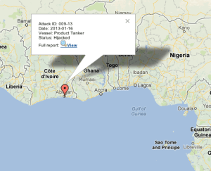 IMB Report: 16.01.2013: 2200 LT: Abidjan anchorage, Ivory Coast.A tanker was reported hijacked by pirates. Further details awaited.