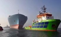 Emma Maersk under tow by the Fairmount Alpine tug. Image: Maersk Line