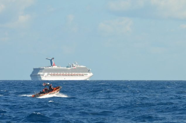 A Coast Guard Cutter Vigorous small boat patrols near the cruise ship Carnival Triumph in the Gulf of Mexico, Feb. 11, 2013. U.S. Coast Guard photo