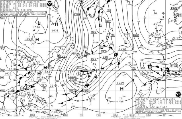 NOAA OPC Surface Analysis 18Z 22 Feb 2013