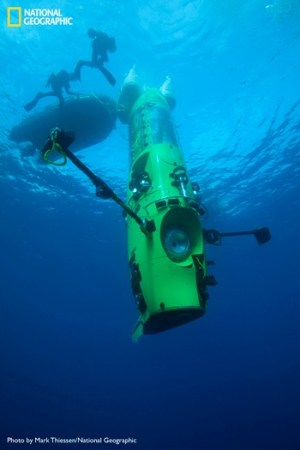 The DEEPSEA CHALLENGER submersible is the centerpiece of DEEPSEA CHALLENGE, a joint scientific project by explorer and filmmaker James Cameron, the National Geographic Society and Rolex to conduct deep-ocean research. Photo: Mark Thiessen/National Geographic