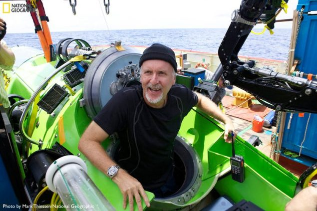 Filmmaker and National Geographic Explorer-in-Residence James Cameron emerges from the DEEPSEA CHALLENGER submersible after his successful solo dive to the Mariana Trench, the deepest part of the ocean. Photo: Mark Thiessen/National Geographic