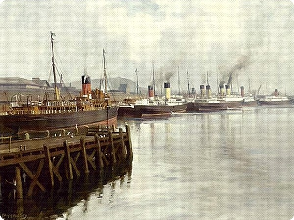 Cross Channel Steamers at Donegall Quay Belfast rnd
