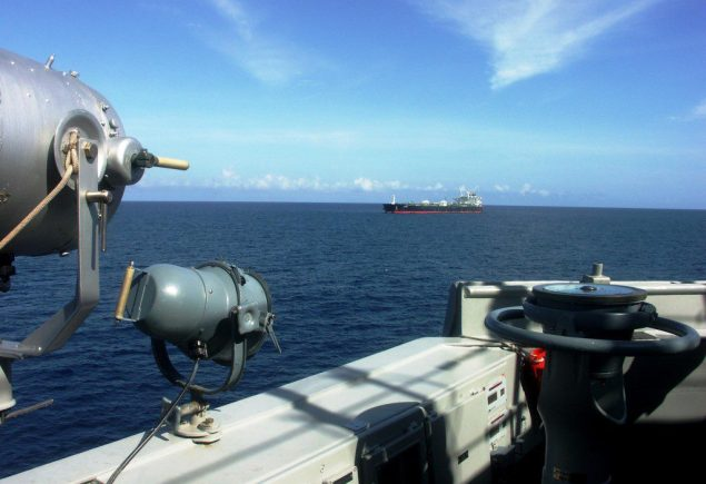 The released MT Smyrni viewed from the bridge wing of the EUNAVFOR flagship. Photo: EU Naval Force