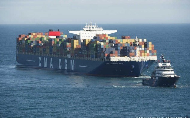 File photo of CMA CGM Marco Polo. Photo credits : Marine Nationale / Alain MONOT