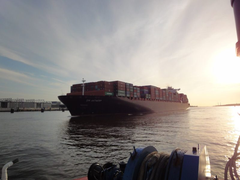 ZIM Antwerp on river Elbe, approaching Hamburg. File photo courtesy Zim