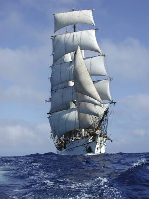 T/S Picton Castle under full sail.