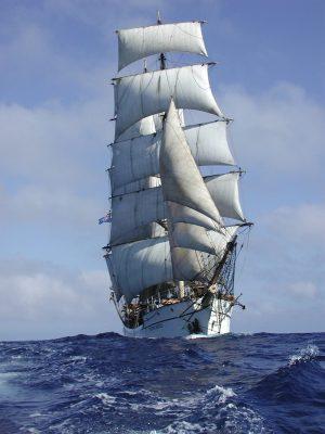 T/S Picton Castle under full sail.