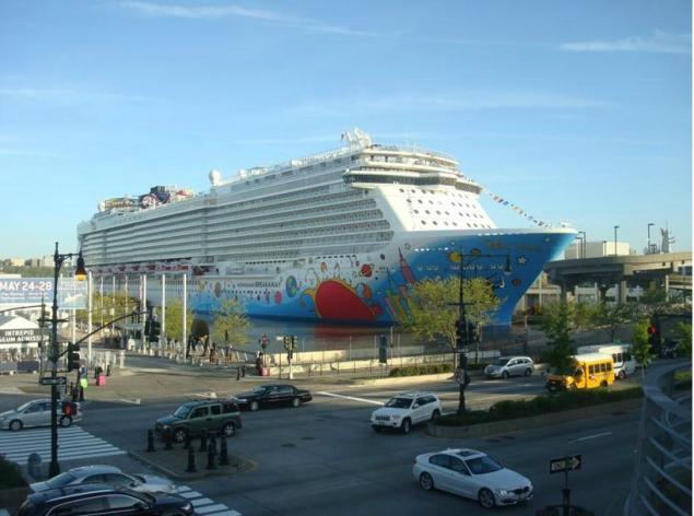 The Norwegian Breakaway at a pier on the Hudson River in New York City, May 7, 2013, just prior to its christening. Photo: NCL Breakaway on twitter