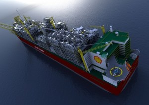 Rendering of the Prelude FLNG facility, via Shell
