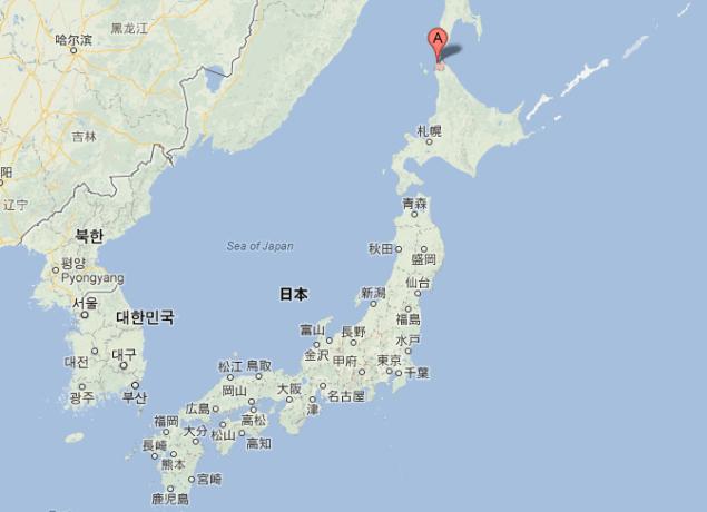 Location of port of Wakkanai, Japan