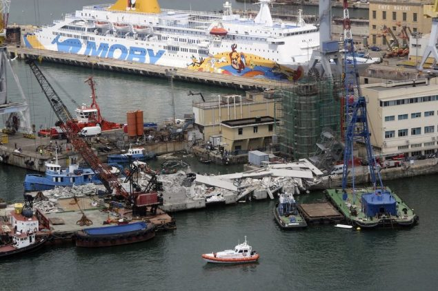 The collapsed control tower at Genoa's port is pictured in this handout picture provided by the Coast Guard service. Photo: Italian Coast Guard