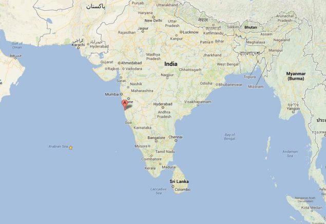 Location of Ratnagiri, India.