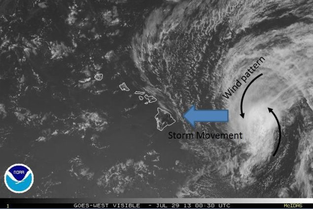 Latest satellite image of Flossie, pictured at 3 PM HST on Sunday July 28th.