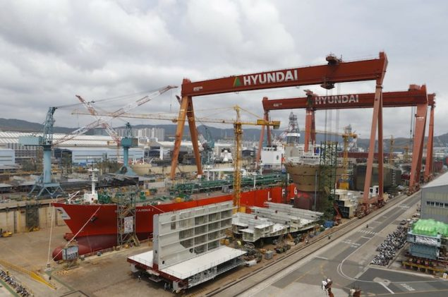 Hyundai Heavy Industries shipyard in Ulsan, about 410 km (255 miles) southeast of Seoul. REUTERS/Lee Jae-Won