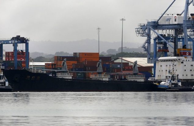 North Korean container ship ''Chong Chon Gang'' docked at the Manzanillo International Container Terminal in Colon City July 16, 2013. REUTERS/Carlos Jasso