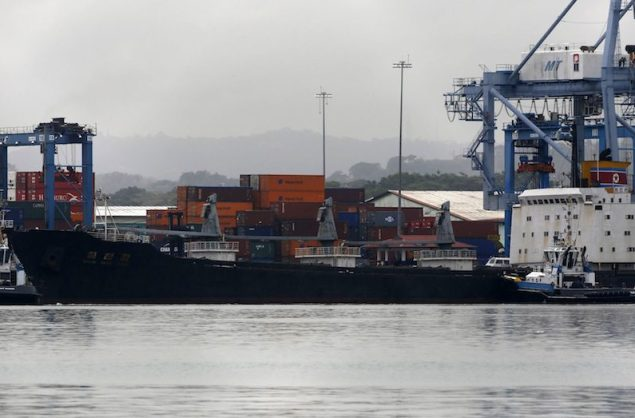 North Korean container ship ''Chong Chon Gang'' docks in Colon City