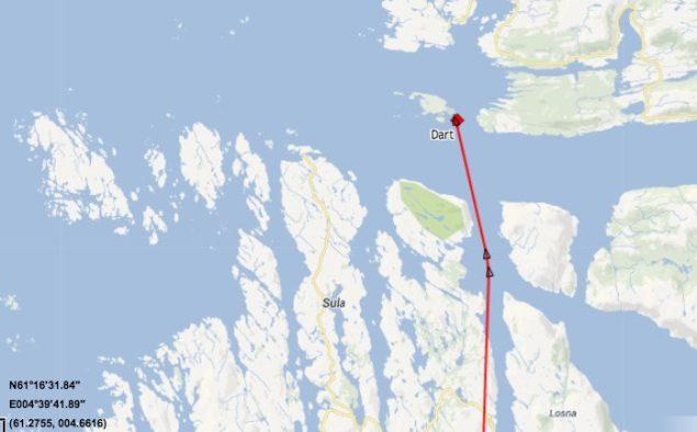 AIS track of Dart via Marinetraffic.com