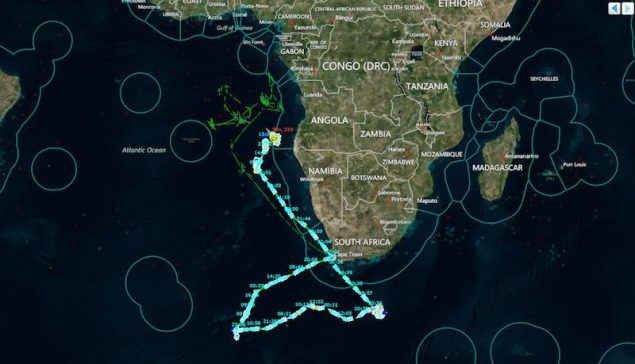 Windward's maritime surveillance system (MarInt) shows a Japanese fishing boat that entered the Exclusive Economic Zone (EEZ) of Angola, allegedly without permission. Image credit: National Geographic