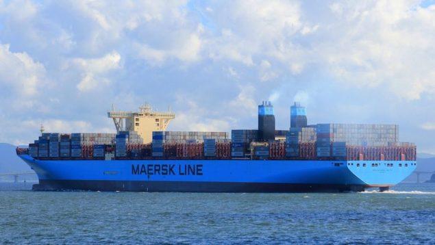 MV Mærsk McKinney-Møller, lead ship in the Triple-E class, departs Busan, South Korea in July. Image (c)