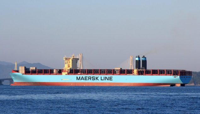 MV Mary Maersk departs Busan, South Korea. Image (c) Vladimir Toniæ