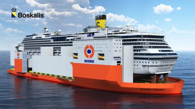 The Dockwise Vanguard has been booked to carry the Costa Concordia hulk to it's final, undetermined resting place for demolition. The new ship will theoretically be capable of carrying this.