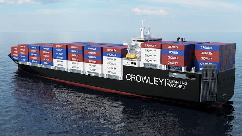 An artist's rendering of Crowley's new Commitment-Class, LNG-Powered ConRo vessels. Image: Crowley Maritime Corp.
