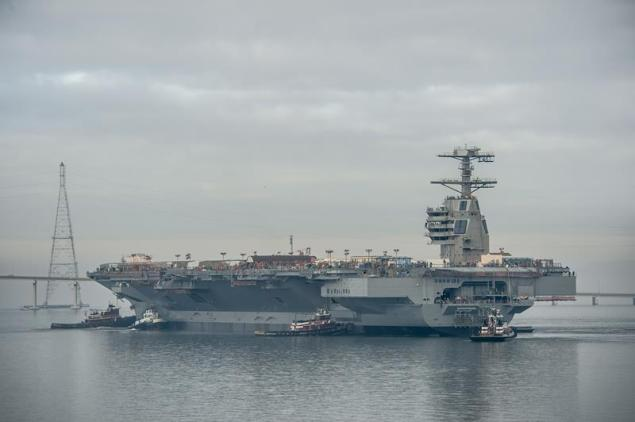Gerald R. Ford (CVN-78) float out at Huntington Ingalls shipyard in November 2013. Photo by Chris Oxley