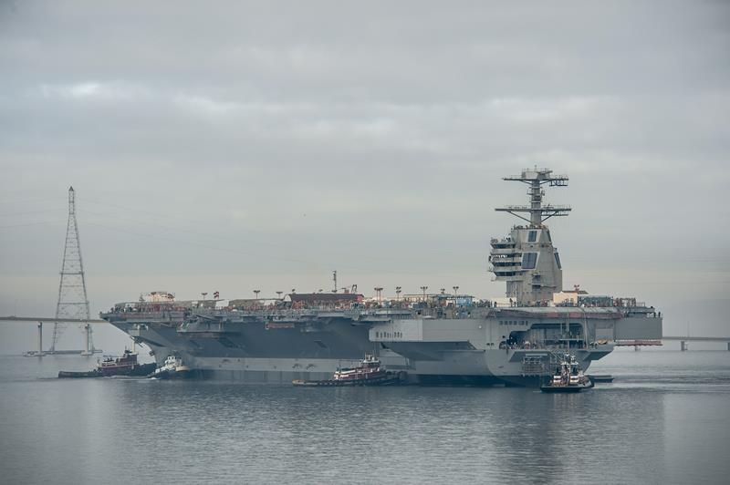 The lead ship in the Ford-class , the future USS Gerald R. Ford (CVN-78), was launched at Newport News Shipbuilding in November 2013. Photo by Chris Oxley