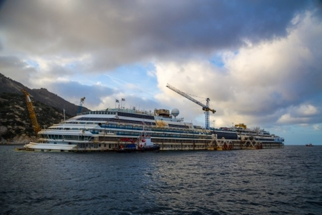 The Costa Concordia shipwreck as seen in early December. Photo courtesy TheParbucklingProject.com