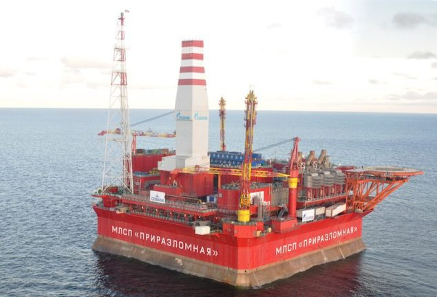 The Prirazlomnaya platform, located Pechora Sea, is the same platform Greenpeace activists tried to scale in September. Image (c) Gazprom