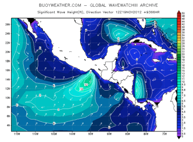 Buoyweather.com historical wave height chart for November 19, 2012 showing an area of 10-15ft seas in the Gulf of Tehuantepec.