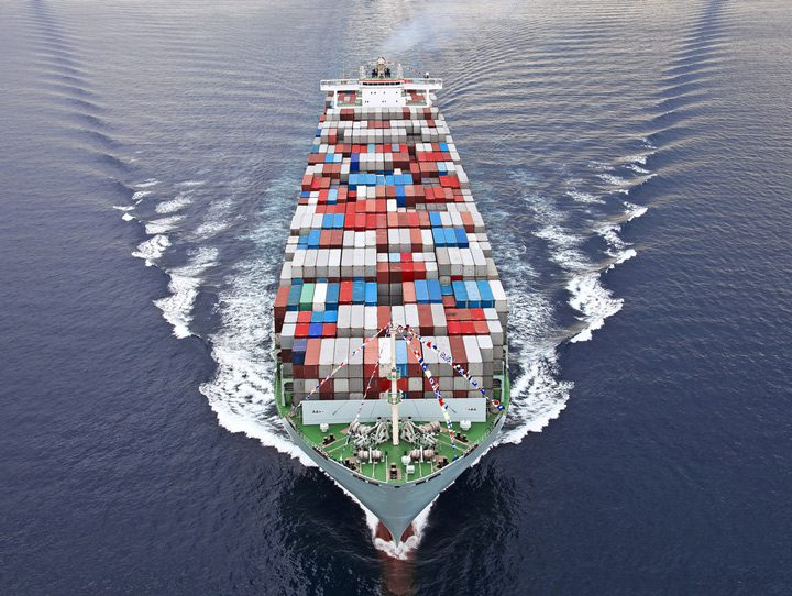 aerial view container ship shipping