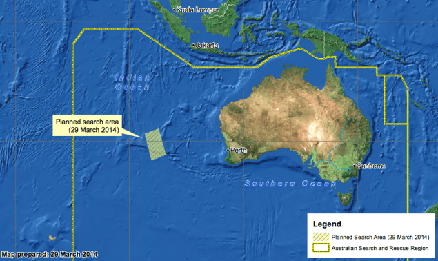 March 29 search area map courtesy AMSA
