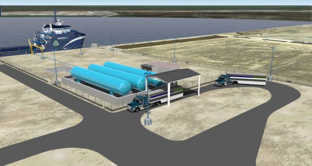 An illustration of Harvey Gulf's LNG fueling facility, the first in the U.S., at Port Fourchon. Image courtesy Harvey Gulf