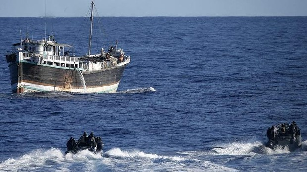 HMAS Darwin's rigid hulled inflatable boats approach the suspicious dhow. Image: Department of Defence