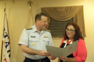 MPT Amy Beavers and USCG by Rear Admiral Joseph Servidio discuss new tole on MERPAC. Photo courtesy MPT