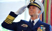 Adm. Paul Zukunft salutes during a change of command ceremony at Coast Guard Headquarters in Washington May 30, 2014.   U.S. Coast Guard Photo