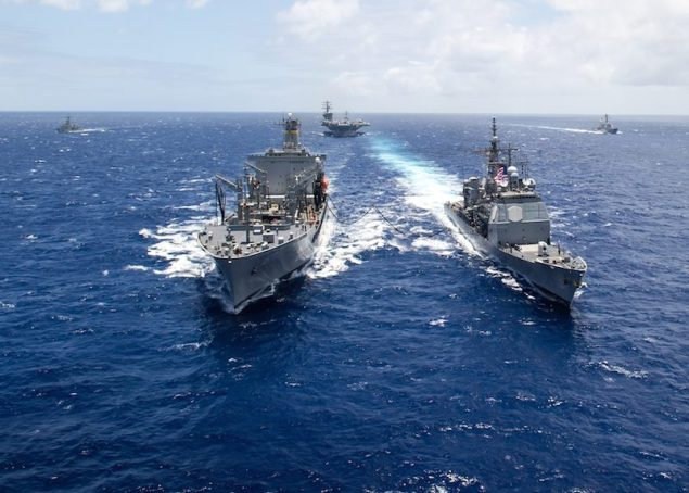 The Military Sealift Command fleet replenishment oiler USNS Henry J. Kaiser (T-AO 187), delivers a 50-50 blend of advanced biofuels and traditional petroleum-based fuel to the USS Princeton (CG 59) during the Great Green Fleet demonstration portion of Rim of the Pacific (RIMPAC) 2012. U.S. Navy Photo