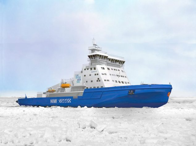 The new icebreaker built by Arctech Helsinki Shipyard for the Finnish Transport Agency and powered by Wärtsilä dual-fuel engines will be the most environmentally friendly icebreaker ever built. Illustration courtesy Wärtsilä