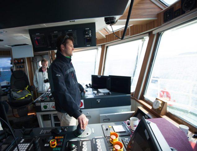 Rob Almeida steering the M/T Bokn